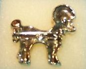 Image 1 of Poodle Pin, Brooch with Green Rhinestone Eyes
