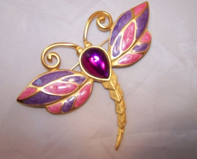 Dragonfly Pin, Brooch w Large Purple Center