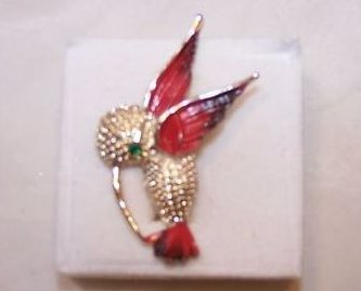 Gerrys Hummingbird Pin, Brooch w Rhinestone