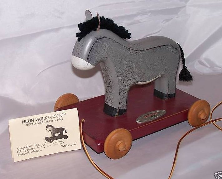 Image 0 of Wood Wooden Pull Toy Donkey, Henn Workshops, New