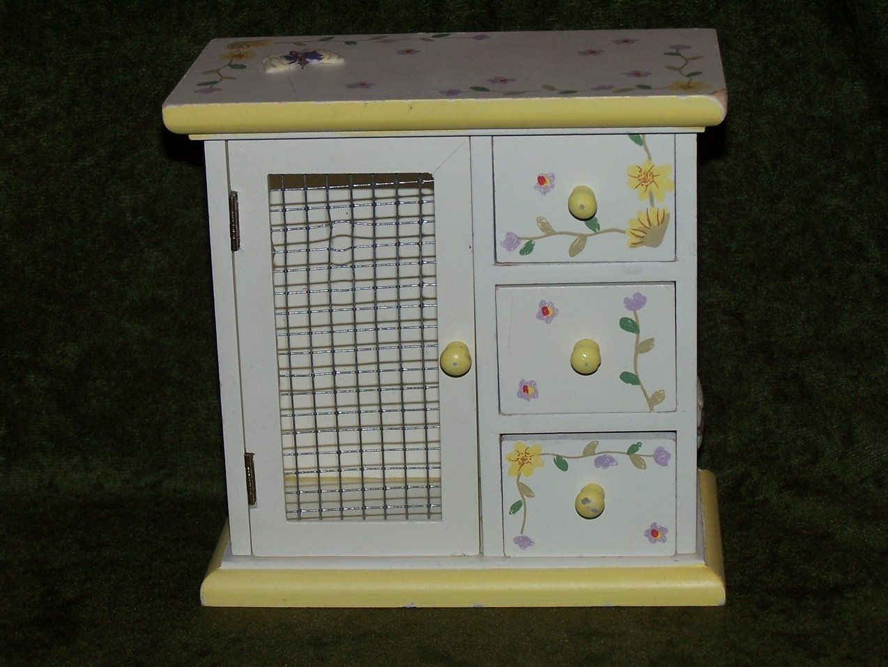 Miniature Mini Wood Wardrobe w Flowers, Butterflies