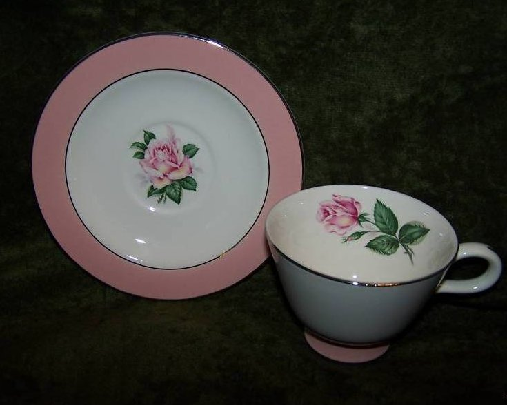 Lifetime China Pink Rose Saucer, Teacup Cup, Vintage