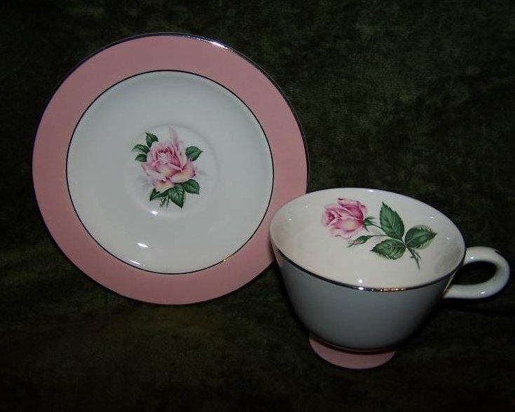 Lifetime China Pink Rose Saucer, Teacup Cup, Vintage