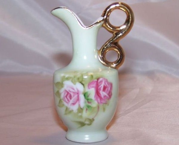 Lefton Gold Double Loop Handle Mini Pitcher with Roses