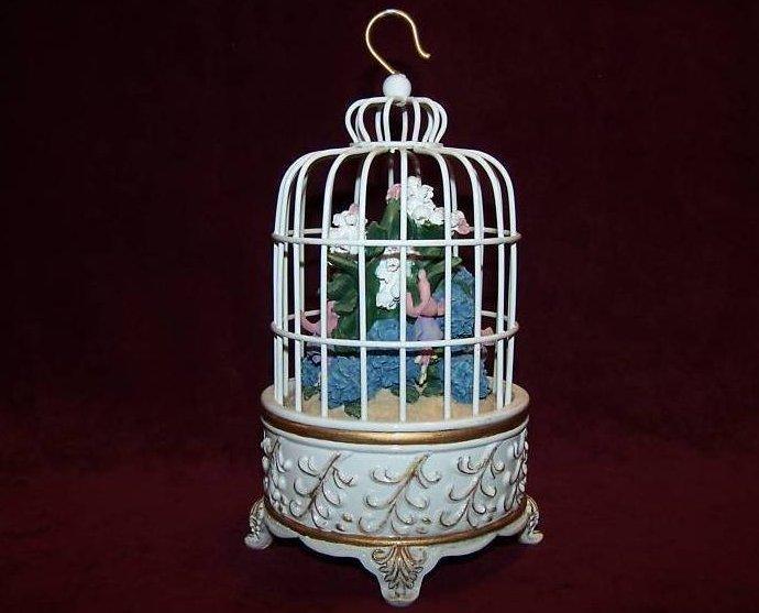 San Francisco Music Box Birdcage w Flower Bouquet