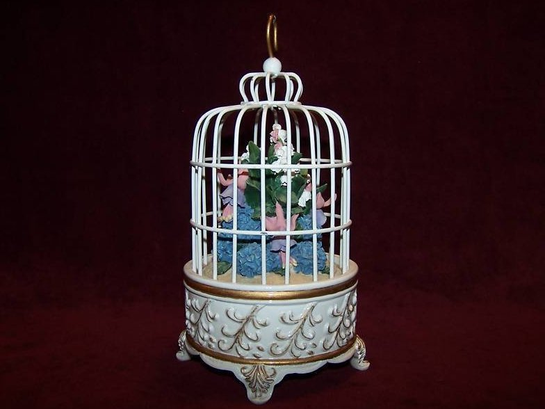 Image 2 of San Francisco Music Box Birdcage w Flower Bouquet