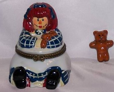 Image 0 of Raggedy Ann Style Trinket Box with Teddy Bear Surprise, New
