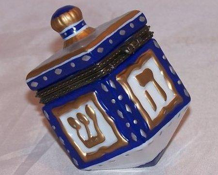Dreidel Trinket Box w Coin, Chanukkah Hanukkah
