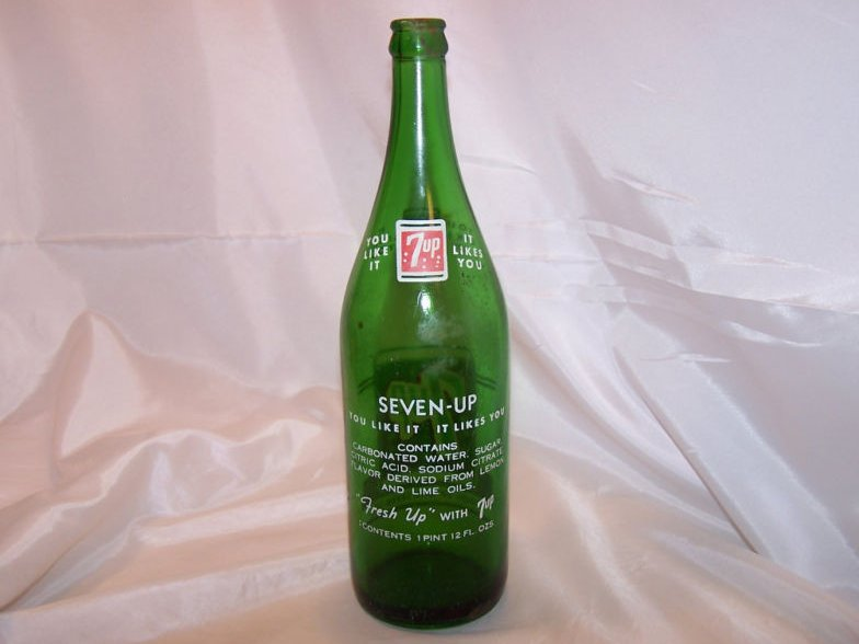 Image 1 of 7UP, 7 UP, Green Glass Soda Pop Bottle, 1 pint 12 ounces