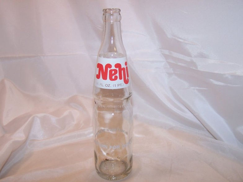 Nehi Soda Pop Bottle, 16 oz Clear Glass