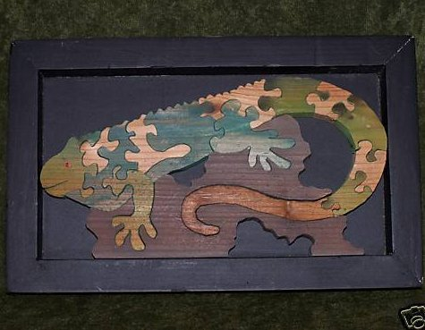 Chameleon Puzzle in Display Frame, Wood, Original Pkg