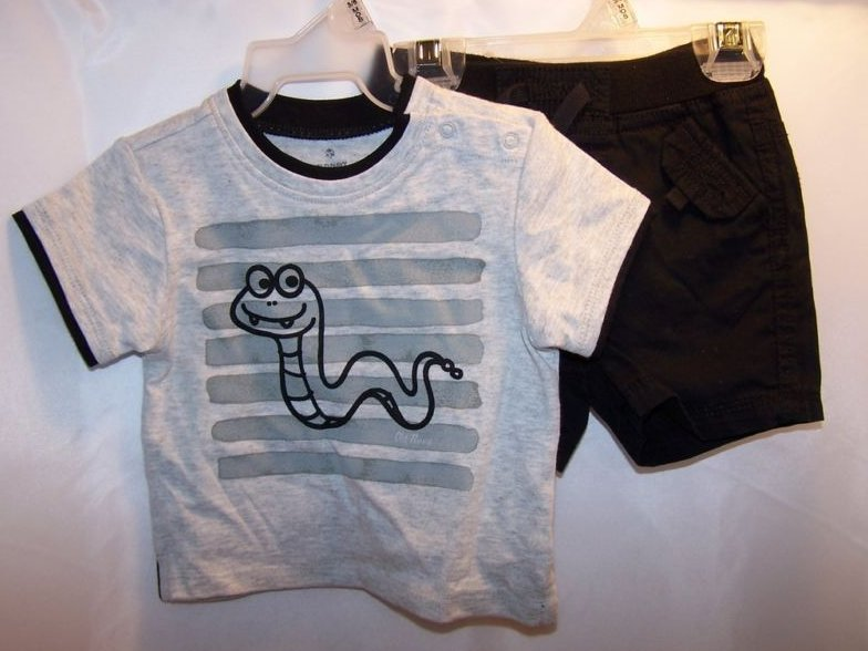 New Sz 3-6 MO Boys Shorts and Snake T Shirt Outfit