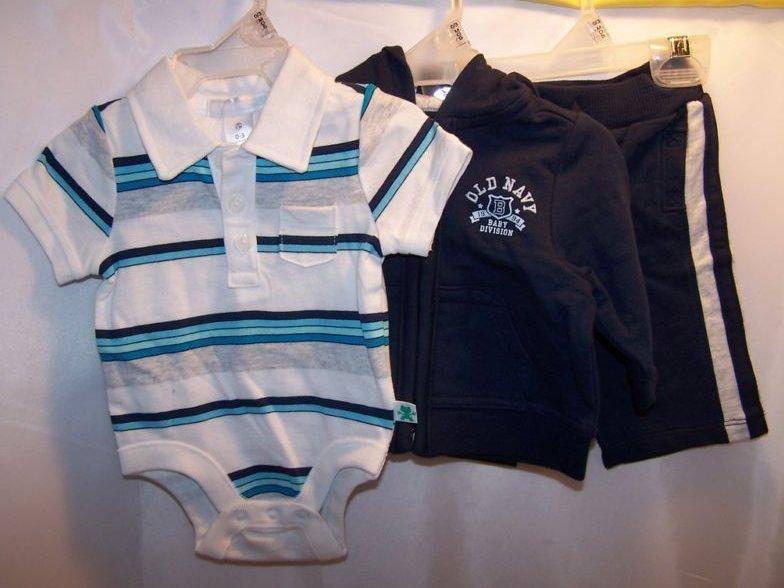 Image 0 of New Sz 0-3 MO Onesie, Hoodie Hoody, Sweatpants Outfit
