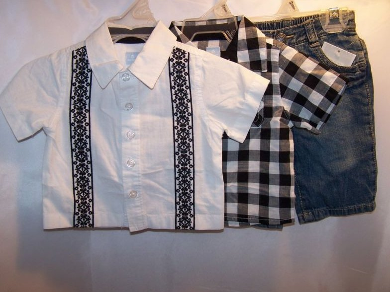 Image 0 of New Sz 0-3 Months Boys 1 pr Pants, 2 Button Shirts