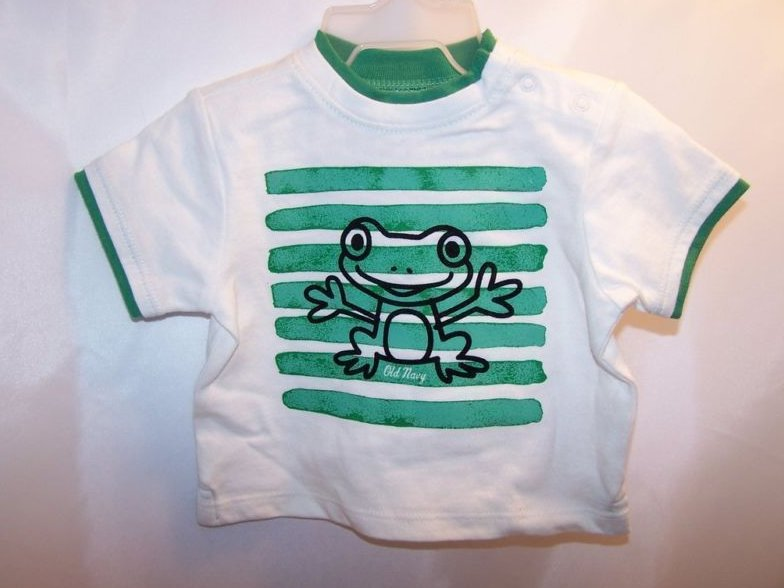 New Sz 0-3 Months Boys T-Shirt, Stripes and Frog