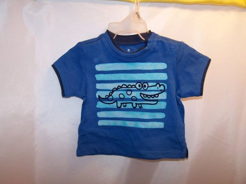 New Sz 0-3 MO Months Boys T-Shirt, Stripes and Alligator