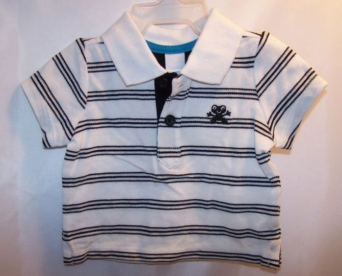 Image 0 of New Sz 0-3 Months Boys Black, White Striped Frog Shirt
