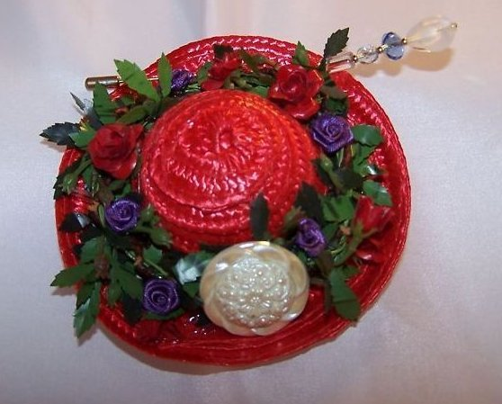 New Woven Red Hat with Red, Purple Roses Flowers, Hat Pin
