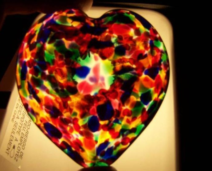 Glass Artwork Heart, American Multi Color, Handmade