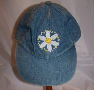 Ball Cap, Girls Daisy on Denim Blue, Ages 3 to 6