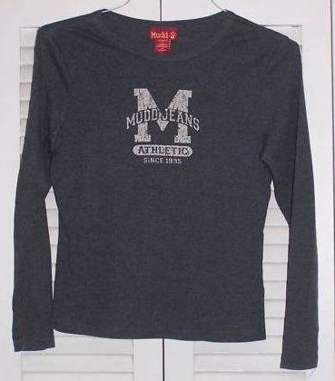 Juniors Sz L MUDD Long Sleeve Gray Shirt with Logo