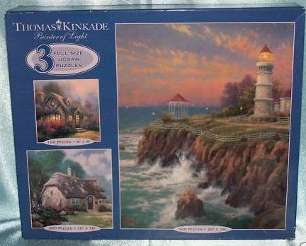 Thomas Kinkade Puzzles, Cottages, Lighthouse, New