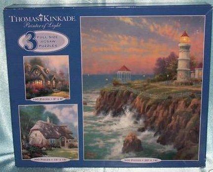 Thomas Kinkade Puzzles, Cottages, Lighthouse, New