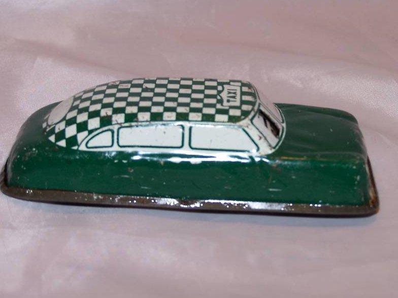 Tin Green, White Taxi Car, Vintage