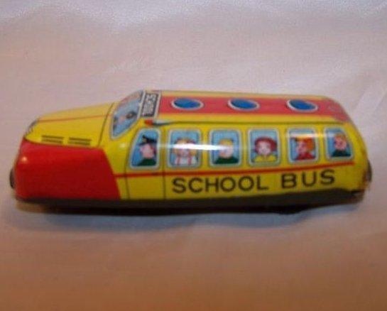 Tin Schoolbus, Friction Engine Motor, Japan, Vintage