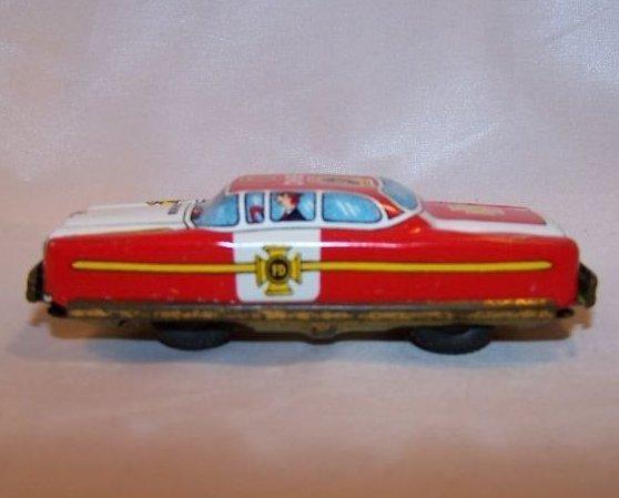 Tin Fire Chief Car, Friction Engine Motor, Japan, Vintage