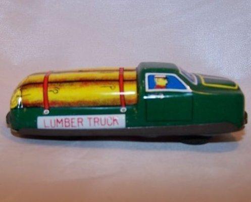 Tin Lumber Truck, Friction Engine Motor, Japan, Vintage