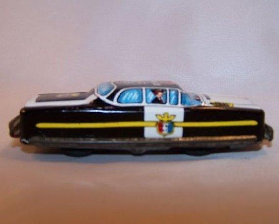 Tin Police Car, Friction Engine, Vintage, Japan