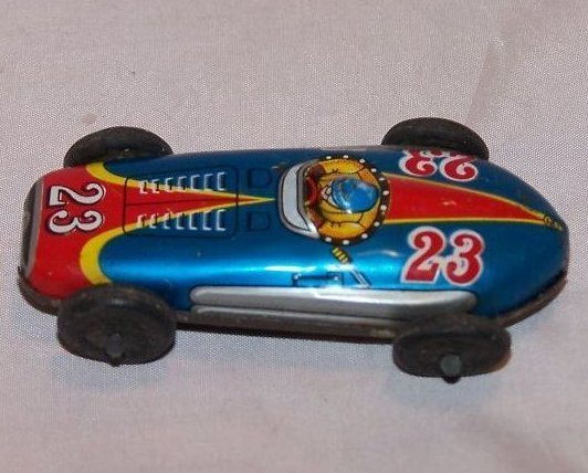 Tin Race Car, Blue and Red No. 23, Vintage, Japan