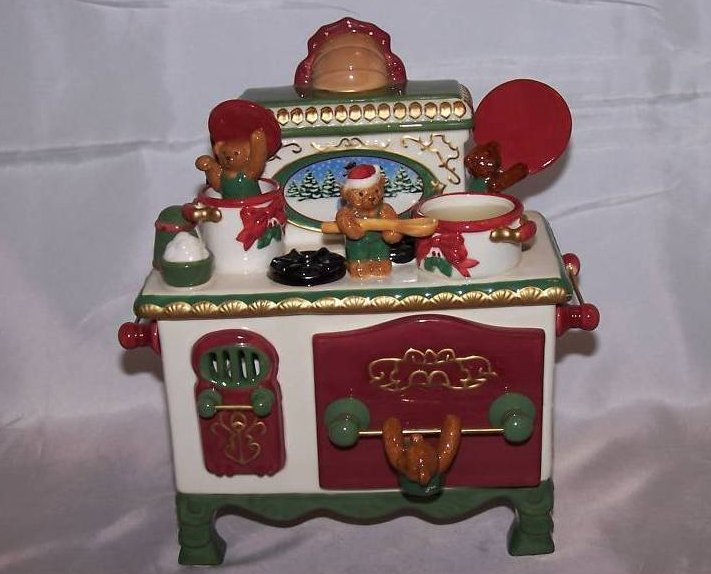 Music Box, Candle Holder Stove w Cooking Bears