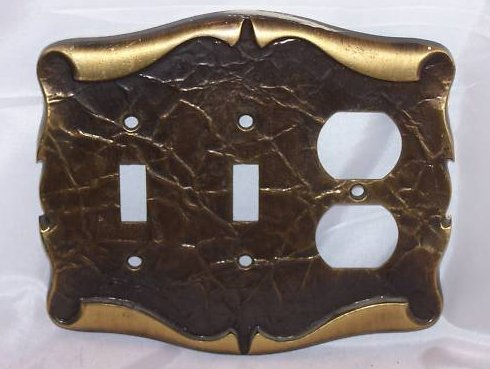 Scrolled Parchment Metal Double Switch, Single Outlet Plate