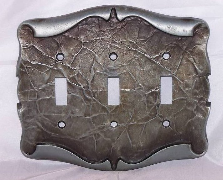 Scrolled Parchment Metal Triple Switch Plate
