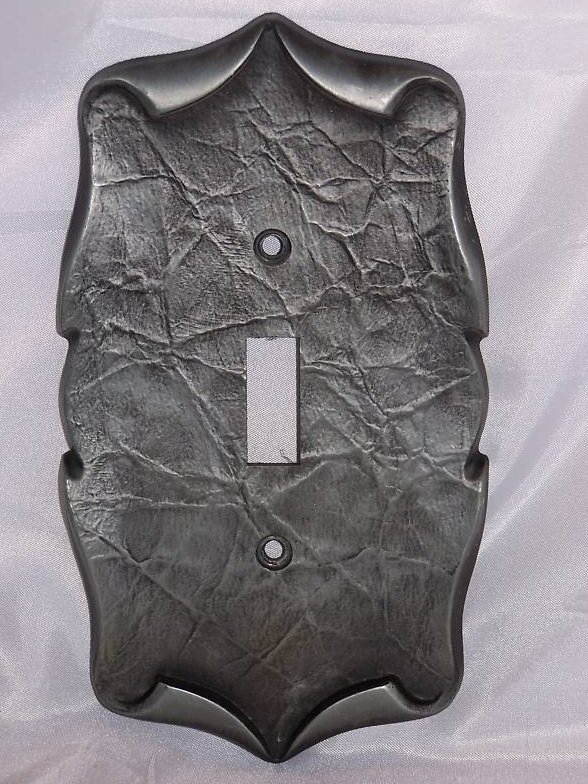 Pewter Scrolled Parchment Metal Single Switch Plate