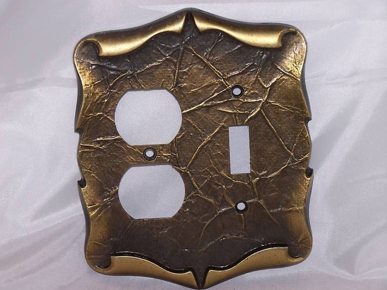 Scrolled Parchment Metal Single Switch Outlet Plate