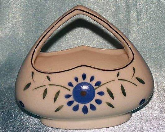 Czechoslovakian Pottery Basket, Vintage