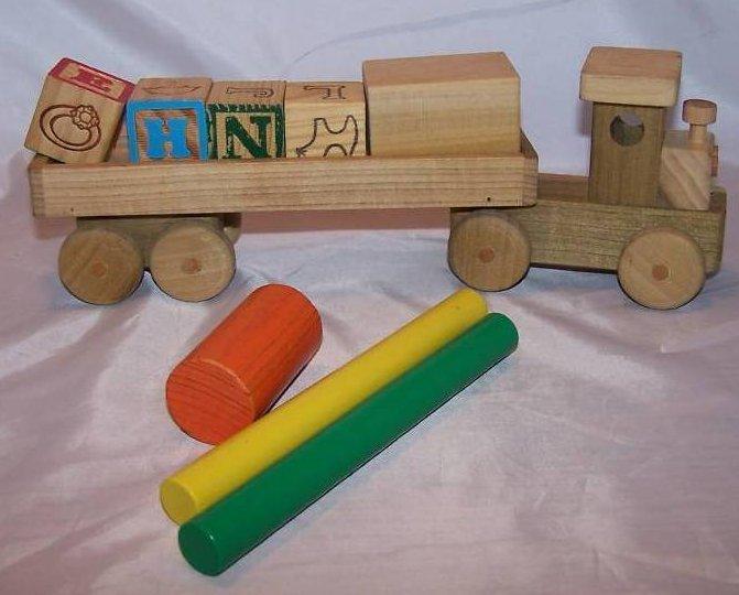 Image 0 of Wood Wooden Tractor Trailer Semi Diesel Truck, Blocks