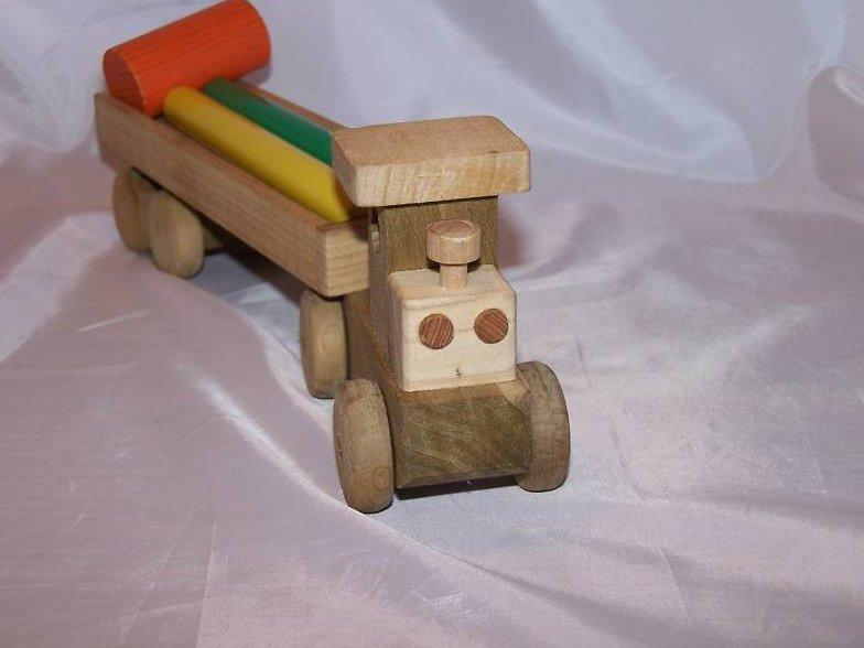 Image 1 of Wood Wooden Tractor Trailer Semi Diesel Truck, Blocks
