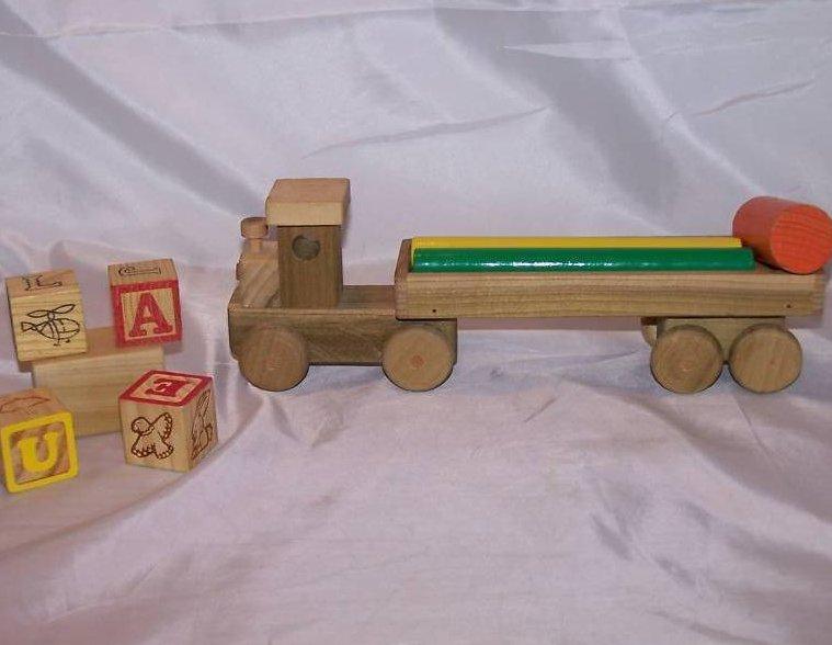 Image 2 of Wood Wooden Tractor Trailer Semi Diesel Truck, Blocks