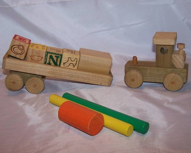 Image 3 of Wood Wooden Tractor Trailer Semi Diesel Truck, Blocks