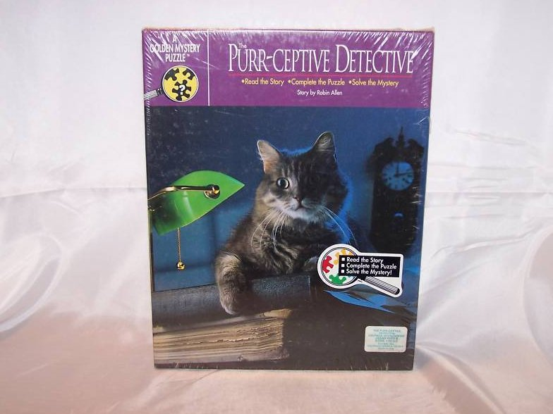 Purr-ceptive Detective Mystery 500 Piece Puzzle, New