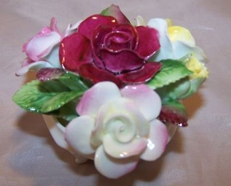 Image 1 of Royal Doulton Rose Flower Bouquet in Bowl, Bone China