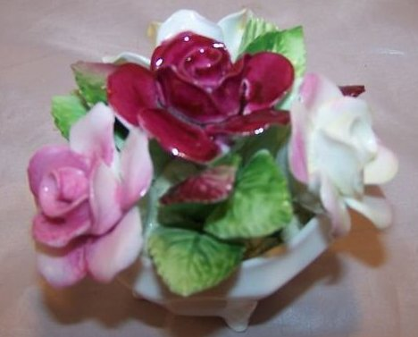 Image 2 of Royal Doulton Rose Flower Bouquet in Bowl, Bone China