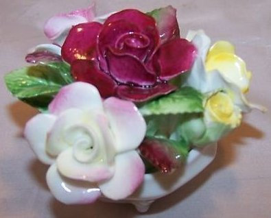 Image 3 of Royal Doulton Rose Flower Bouquet in Bowl, Bone China