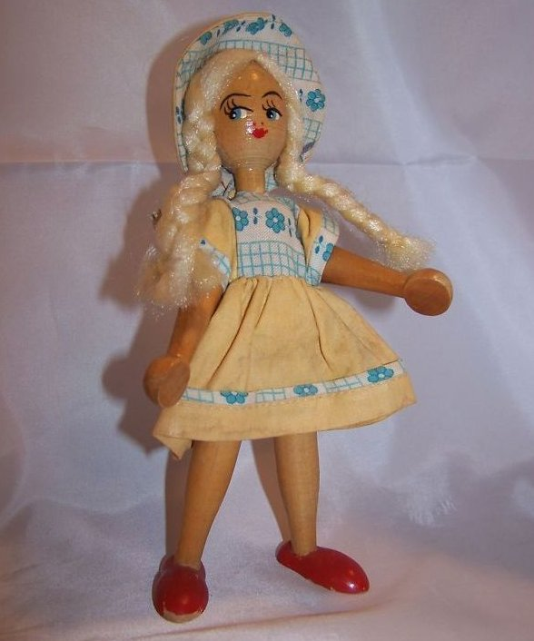 Blond Haired Wooden Wood Girl Doll w Dress, Bonnet
