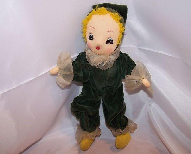 Girl Elf Pixie Doll in Green Velvet, Vintage, Delightful