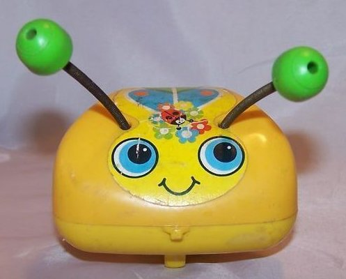 Vintage 1974 Fisher Price Love Bug Pull Toy, Flip Feet